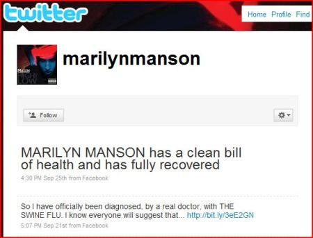 "MARILYN MANSON: ""Clean Bill Of Health After Previous SWINE FLU Claim"""