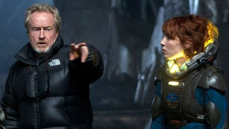RIDLEY SCOTT (left) and NOOMI RAPACE (right) on the set of PROMETHEUS