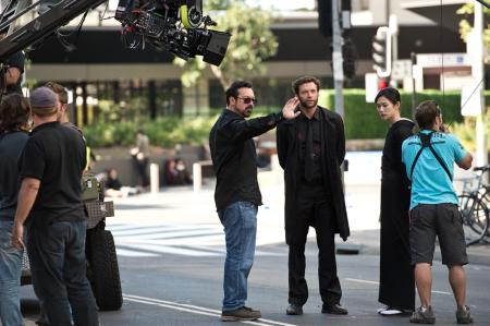 JAMES MANGOLD (left) and HUGH JACKMAN (right) on the set of 'THE WOLVERINE'